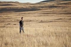 Boy on the prairie Royalty Free Stock Photos