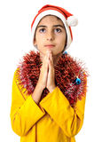 Boy praying at Christmas Royalty Free Stock Image