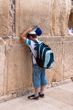 Boy praying at Western Wall, Jerusalem, Israel Royalty Free Stock Images