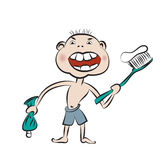 Boy prepare to brush his teeth Royalty Free Stock Photo