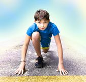 Boy  prepare to have running event contest Stock Photography