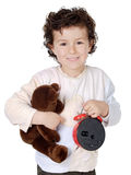 Boy  prepared to sleep. Adorable boy  prepared to sleep with its bear Royalty Free Stock Images