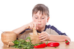 Boy preparing breakfast Stock Image