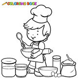 Boy cooking coloring page Stock Photography