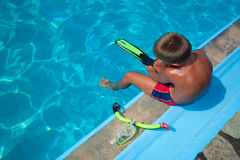 Boy preparing to dive into pool 2 Royalty Free Stock Image