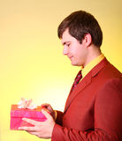 Boy with present box Stock Images