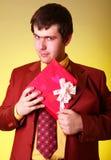 Boy with present box Stock Photo