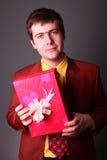 Boy with present box Stock Photos
