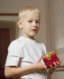 Boy with present box. Stock Photo