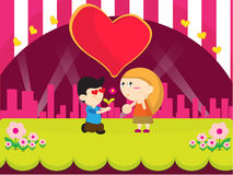Boy present flower cartoon design Stock Images