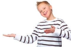 Boy presenting copy space. Young boy presenting copy space and is overwhelmed Stock Images