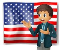 A boy presenting the USA flag Royalty Free Stock Photos