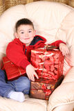 Boy with presents Stock Photo