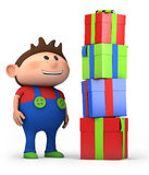 Boy with presents. Cute cartoon boy with pile of presents- high quality 3d illustration Stock Photography