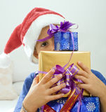 Boy and presents Royalty Free Stock Photos