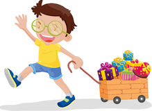 Boy with presents. An illustration of a boy walking with a box of presents Royalty Free Stock Photography