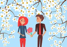 Boy Presents Bouquet to Girlfriend Illustration. Boy presents bouquet of red gerberas to his redhead girlfriend on blue background surrounded with blooming Stock Photos