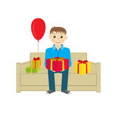 Boy with presents vector Royalty Free Stock Photography