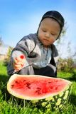 The boy presses a water-melon hands Stock Image