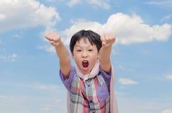 Boy pretend to be superhero Royalty Free Stock Photo