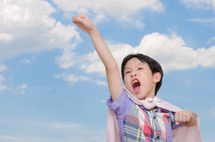 Boy pretend to be superhero Royalty Free Stock Images