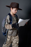 Boy pretending to be an explorer Stock Photo