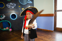 Boy pretending to be a pirate Royalty Free Stock Image