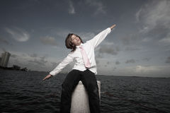 Boy pretending to fly Stock Image