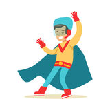 Boy Pretending To Have Super Powers Dressed In Handmade Superhero Costume With Blue Cape Smiling Character Stock Photo
