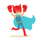 Boy Pretending To Have Super Powers Dressed In Superhero Costume With Blue Cape And Giant Fists Smiling Character Royalty Free Stock Photo