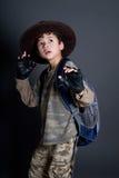 Boy pretends to be an adventurer Royalty Free Stock Photos