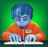 Boy prints on the keyboard. The young hacker hacks a database illustration Stock Photography