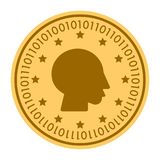 Boy Profile golden digital coin vector icon. gold yellow flat coin cryptocurrency symbol isolated on white. Eps 10 Royalty Free Stock Image