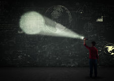Boy with a projector Royalty Free Stock Photos