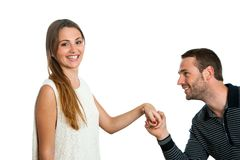 Boy proposing to girlfriend. Stock Photography