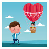 Boy propossal girl flying heart airballoon valentine day Royalty Free Stock Images