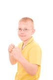 Boy protect himself stock photo