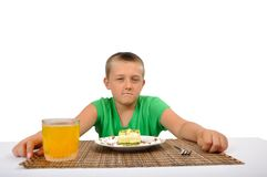 Boy protect own dessert Royalty Free Stock Photography