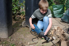 Boy with pruning saw Royalty Free Stock Photo