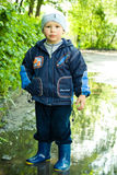 Boy in puddle Royalty Free Stock Image