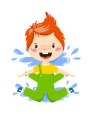 Boy in puddle vector illustration. Stock Image
