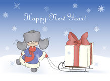 Boy pulling sledge with a gift box. Cartoon illustration, boy pulling a sledge with a gift box. Winter, christmas, new year card Stock Image