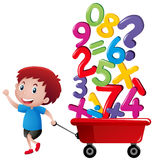 Boy pulling wagon with number blocks. Illustration Stock Photos