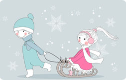 Boy pulls girl on sleigh. Vector illustration of boy and girl on sleigh Stock Images