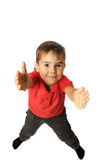 Boy pulls his hands forward Royalty Free Stock Images