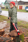 The boy pulls out heavy wood chopper. From a log in the autumn afternoon Royalty Free Stock Photos