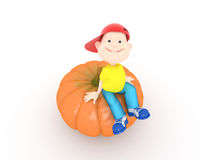 Boy and pumpkin Royalty Free Stock Image
