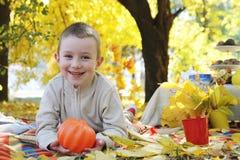 Boy with pumpkin in autumn park. Smiling boy with pumpkin in autumn park Royalty Free Stock Photos