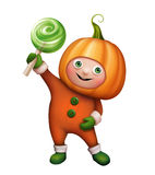 Boy in pumpkin costume, Halloween clip art Stock Photography