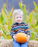 Boy at pumpkin patch Stock Images